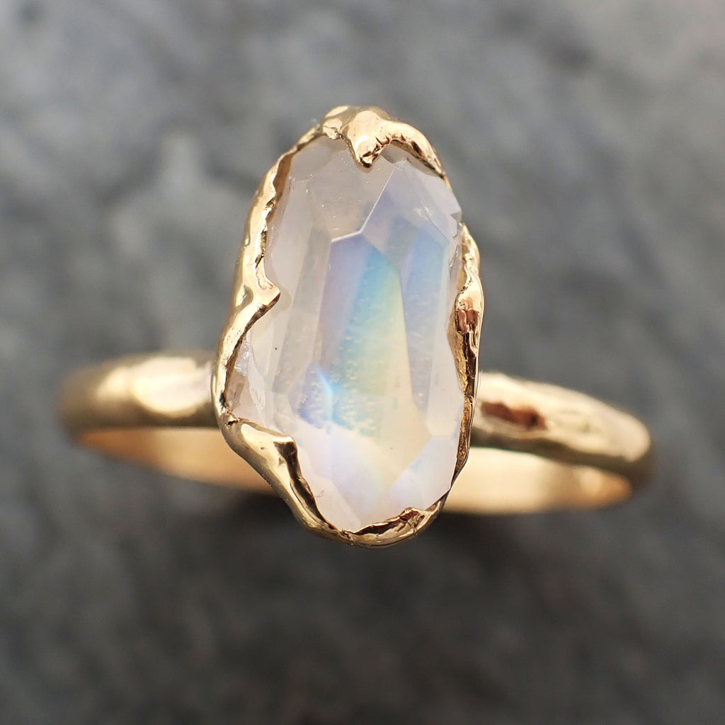 Partially Faceted Moonstone Yellow Gold Ring Gemstone Solitaire recycled 18k statement cocktail statement 2316