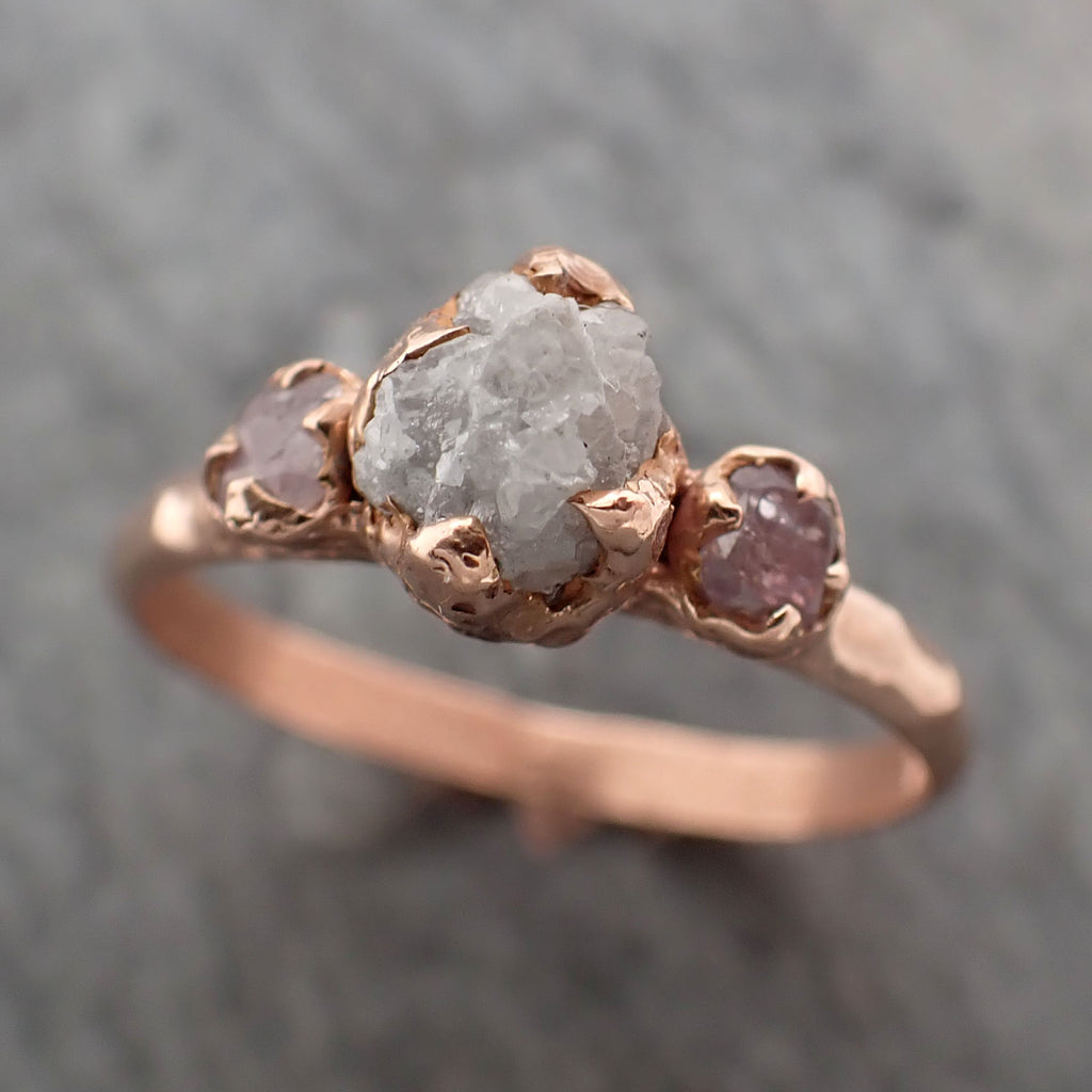 Rough diamond with Faceted Fancy cut Pink side Diamonds Engagement 14k Rose Gold Multi stone Wedding Ring Rough Diamond Ring byAngeline 2334