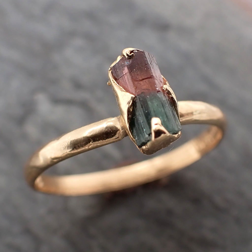 Raw red Green Tourmaline yellow Gold Ring Rough Uncut Gemstone solitaire tourmaline recycled 14k cocktail statement byAngeline 2338