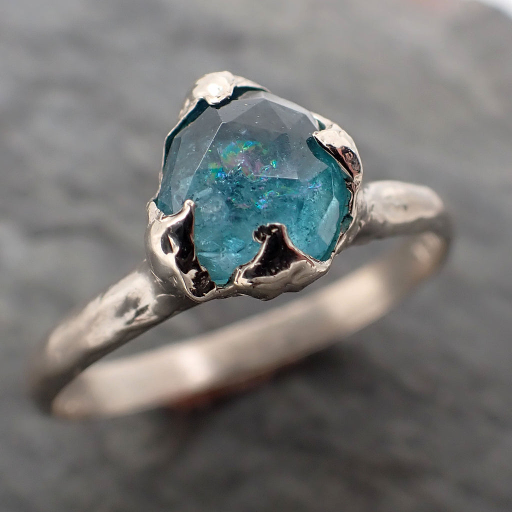 Fancy cut blue Tourmaline White Gold Ring Gemstone Solitaire recycled 14k statement cocktail statement 2332