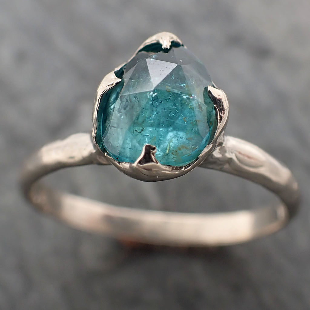 Fancy cut blue Tourmaline White Gold Ring Gemstone Solitaire recycled 14k statement cocktail statement 2331