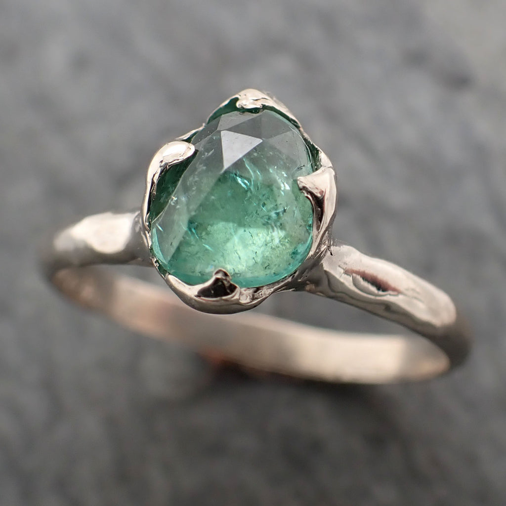 Fancy cut Green Tourmaline White Gold Ring Gemstone Solitaire recycled 14k statement cocktail statement 2333
