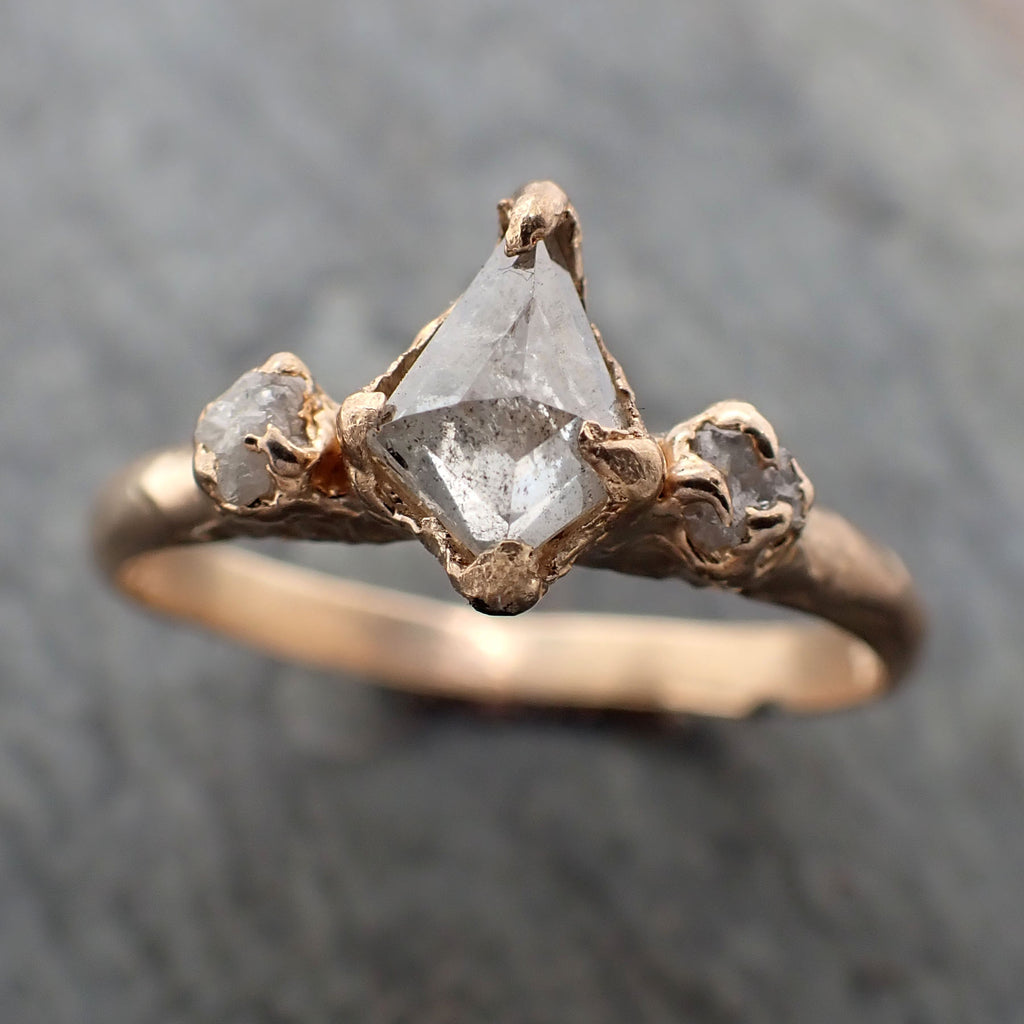 Faceted Fancy cut Diamond Engagement 14k Rose Gold Multi stone Wedding Ring Rough Diamond Ring byAngeline 2348