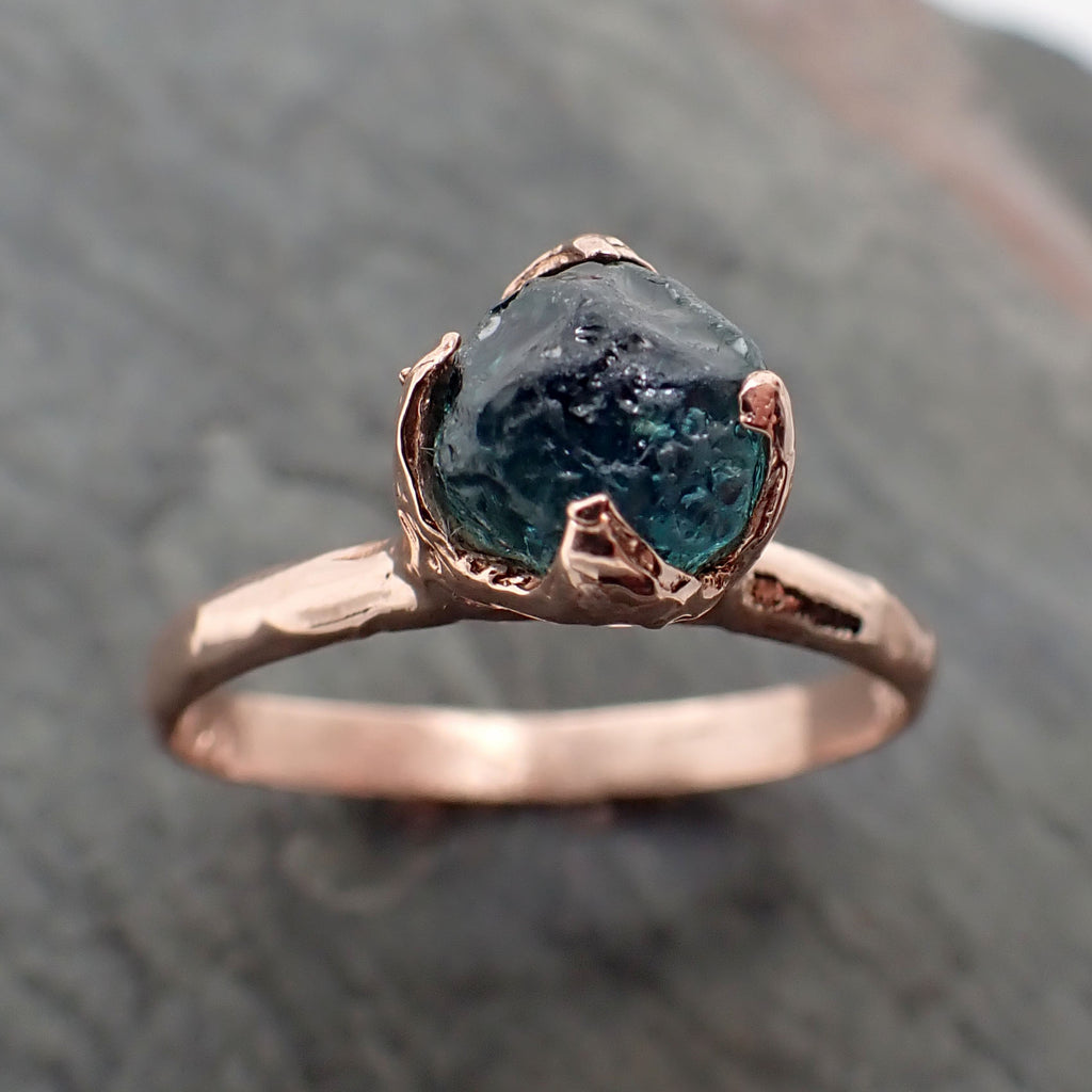 Raw Sapphire blue Montana sapphire Rose Gold Engagement Ring Wedding Ring Custom Gemstone Ring Solitaire Ring byAngeline 2345