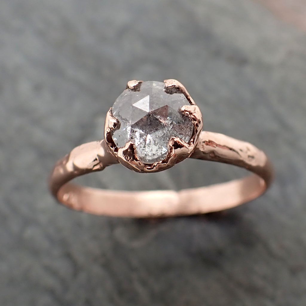 Faceted Fancy cut white Diamond Solitaire Engagement 14k Rose Gold Wedding Ring byAngeline 2350