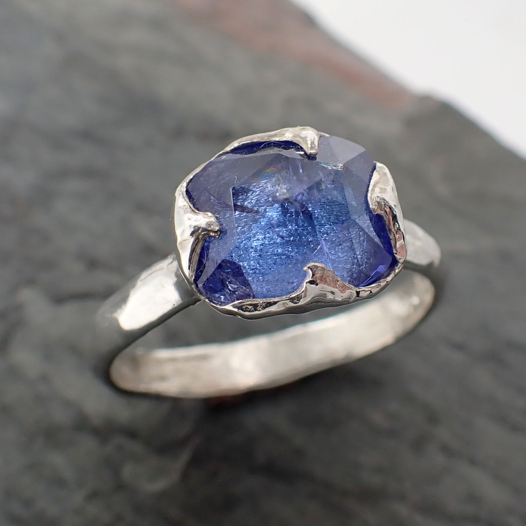 Fancy cut Tanzanite Sterling Silver Ring Gemstone Solitaire recycled cocktail statement SS00079