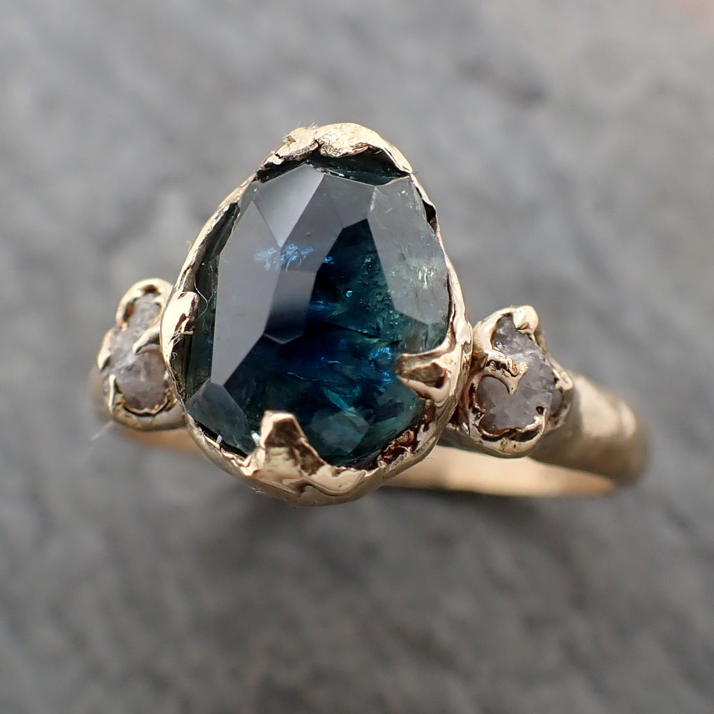 Partially faceted Blue Montana Sapphire Diamond 18k yellow Gold Engagement Ring Wedding Ring Custom One Of a Kind blue Gemstone Ring Multi stone Ring 2352