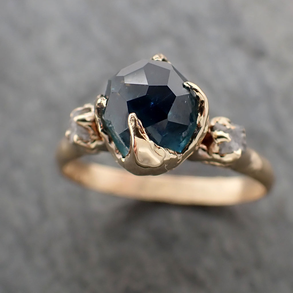 Partially faceted Blue Montana Sapphire Diamond 18k yellow Gold Engagement Ring Wedding Ring Custom One Of a Kind blue Gemstone Ring Multi stone Ring 2353