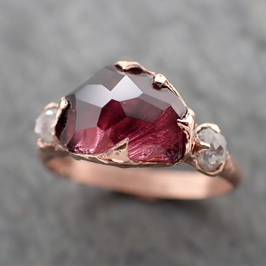 Partially Faceted pink Spinel Fancy diamonds 14k Rose gold Multi Stone Ring Gold Gemstone 2357