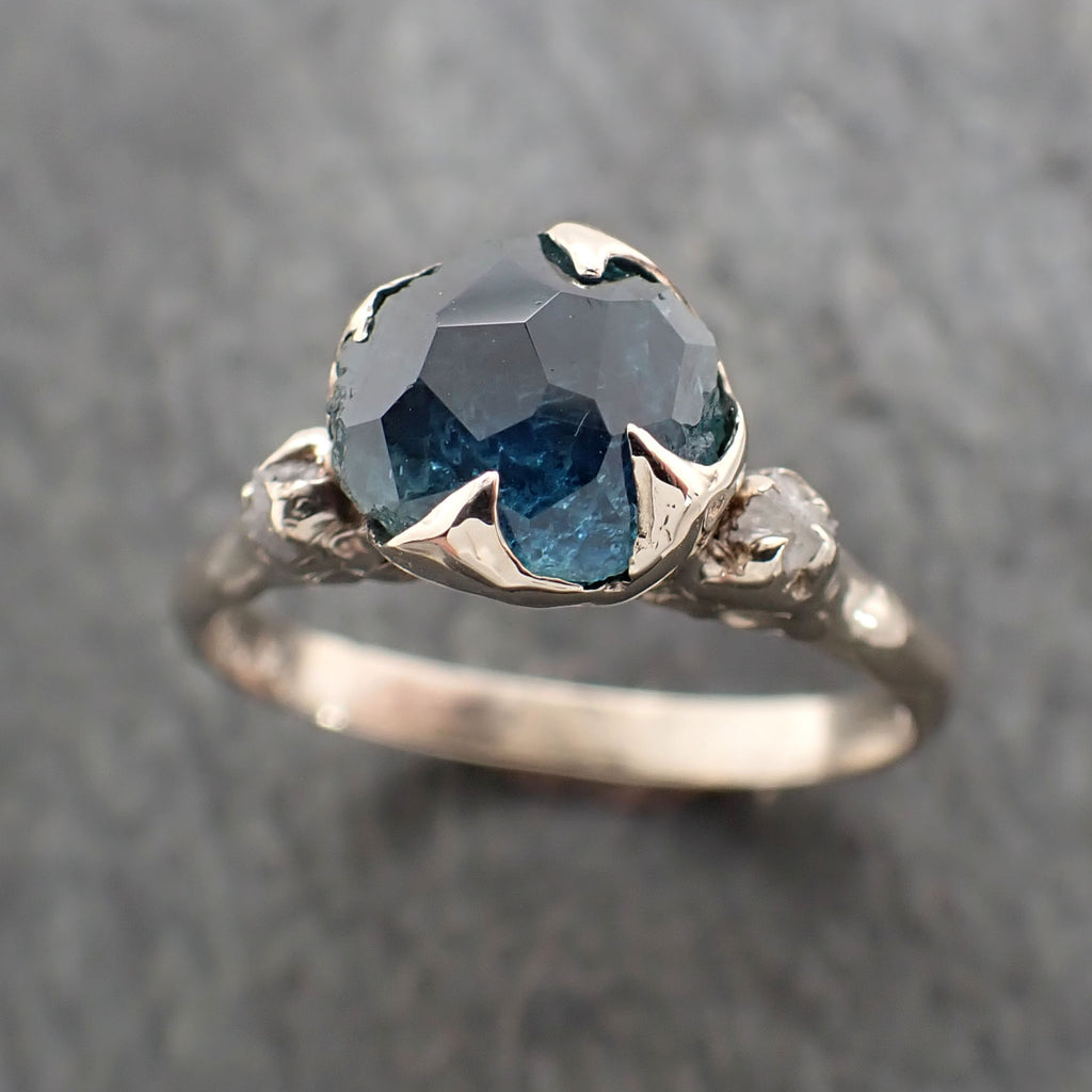 Montana Sapphire Partially Faceted Multi stone Rough Diamond 14k White Gold Engagement Ring Wedding Ring Custom Gemstone Ring Three stone 2364