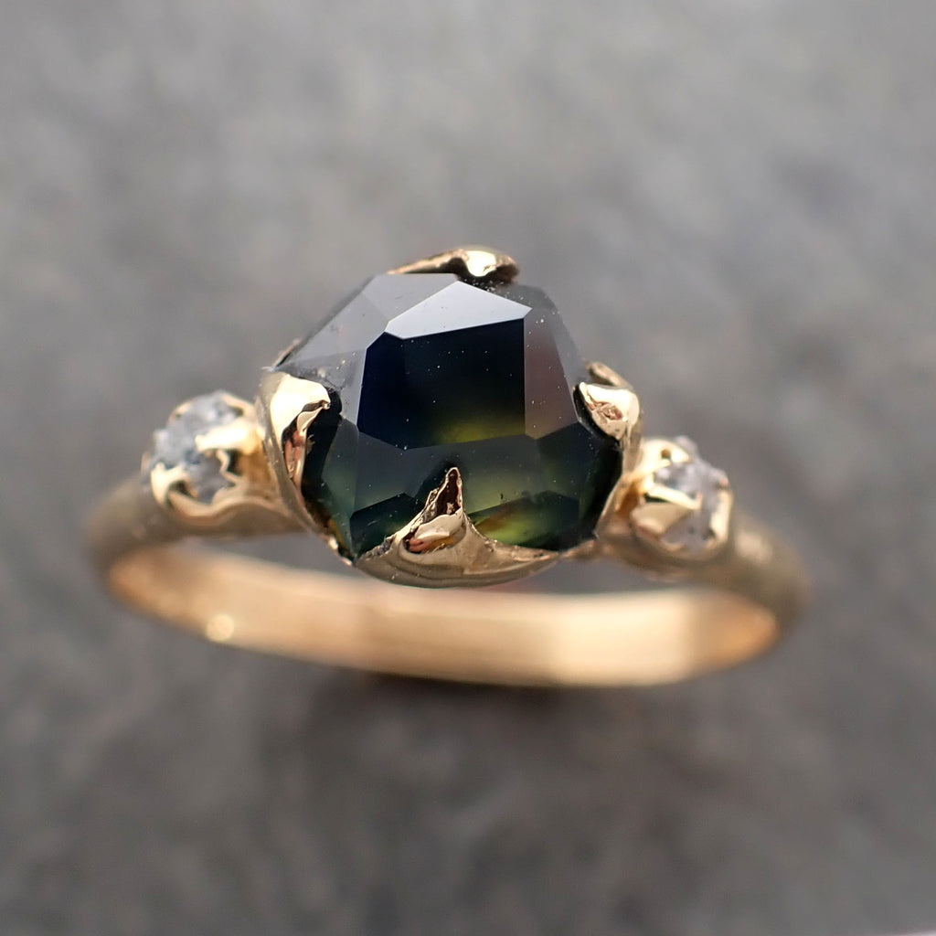 Partially faceted Montana Sapphire natural green sapphire gemstone Raw Rough Diamond 18k Yellow Gold Engagement ring multi stone 2378