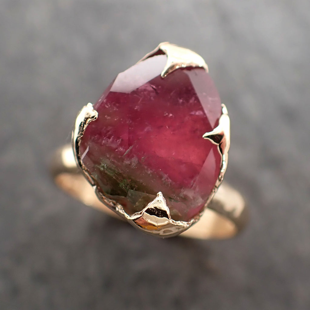Partially faceted Watermelon Tourmaline Solitaire 14k Gold Engagement Ring One Of a Kind Gemstone Ring byAngeline 2382