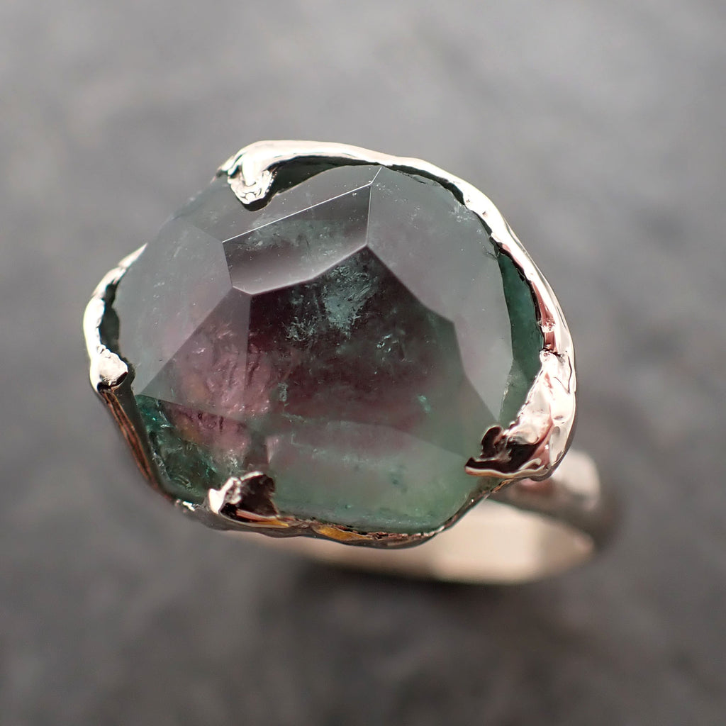 Partially Faceted watermelon Tourmaline White Gold Ring Gemstone tourmaline recycled 18k stacking cocktail statement byAngeline 2373