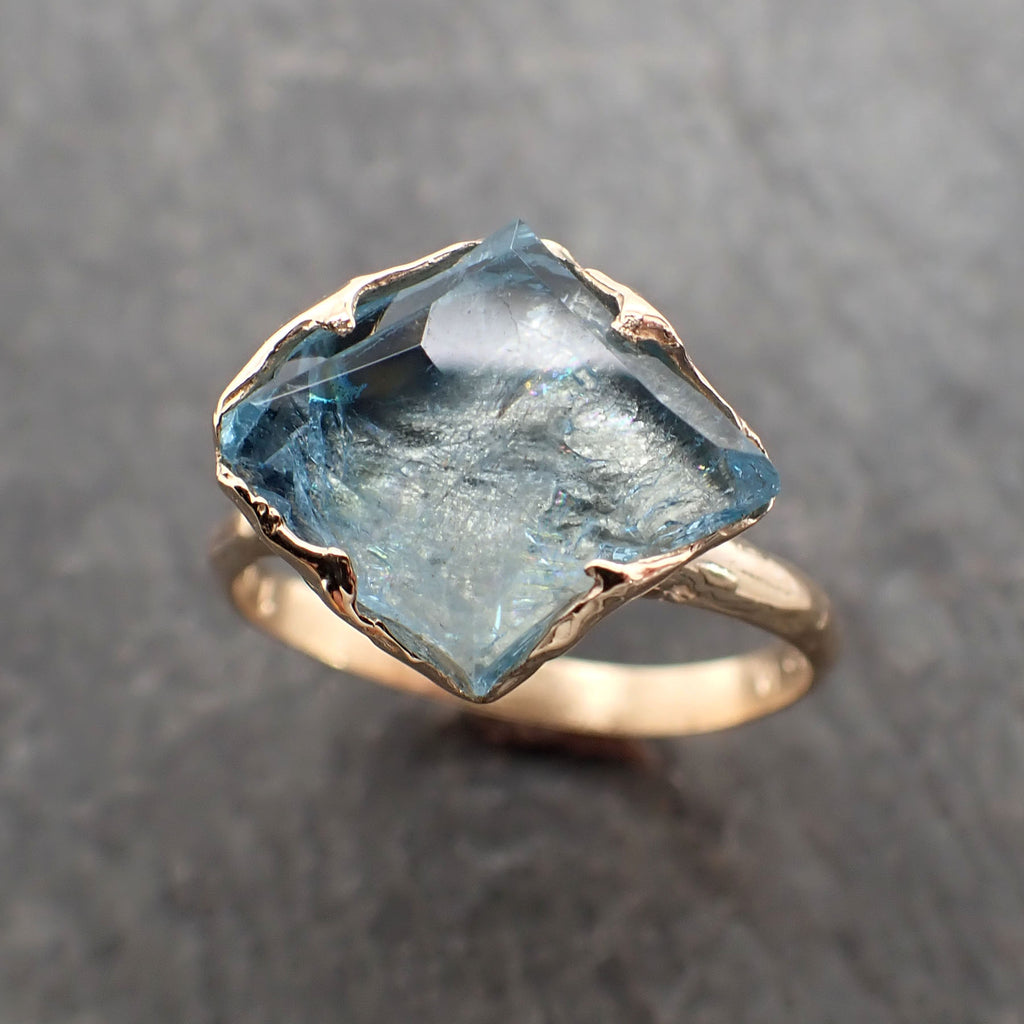 Partially faceted Aquamarine Solitaire Ring 18k gold Custom One Of a Kind Gemstone Ring Bespoke byAngeline 2381