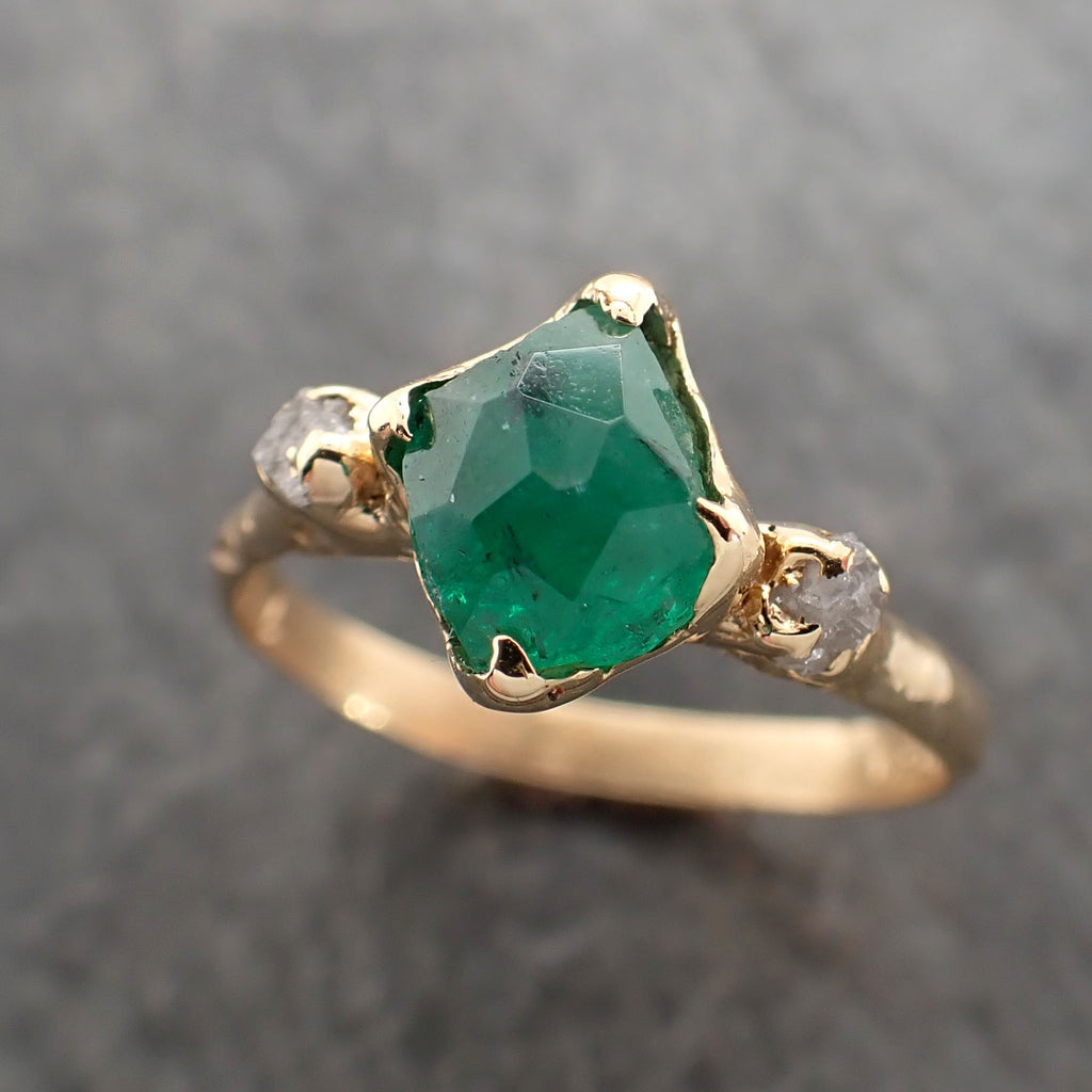 Partially faceted Three raw Stone Diamond Emerald Engagement Ring 18k Gold Multi stone Wedding Ring Uncut Birthstone Stacking Ring Rough Diamond Ring byAngeline 2383