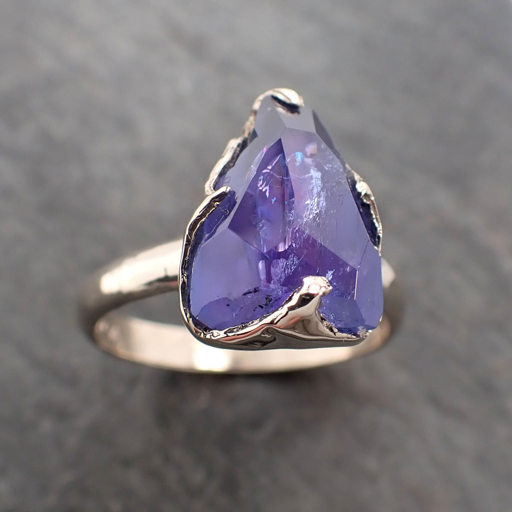 Fancy cut Tanzanite Crystal Solitaire 18k recycled White Gold Ring Gemstone Tanzanite stacking cocktail statement byAngeline 2388