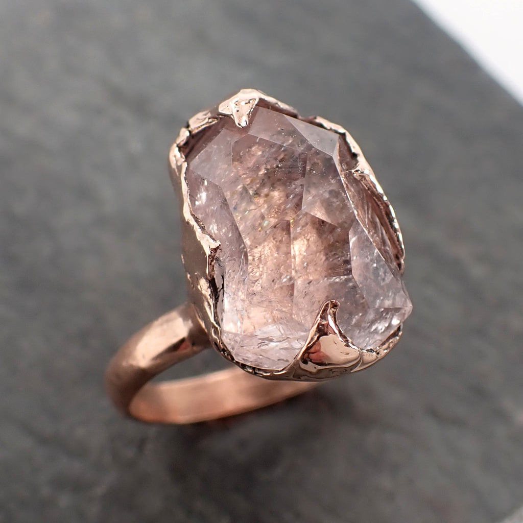 Morganite partially faceted 14k Rose gold solitaire Pink Gemstone Cocktail Ring Statement Ring gemstone Jewelry by Angeline 2392