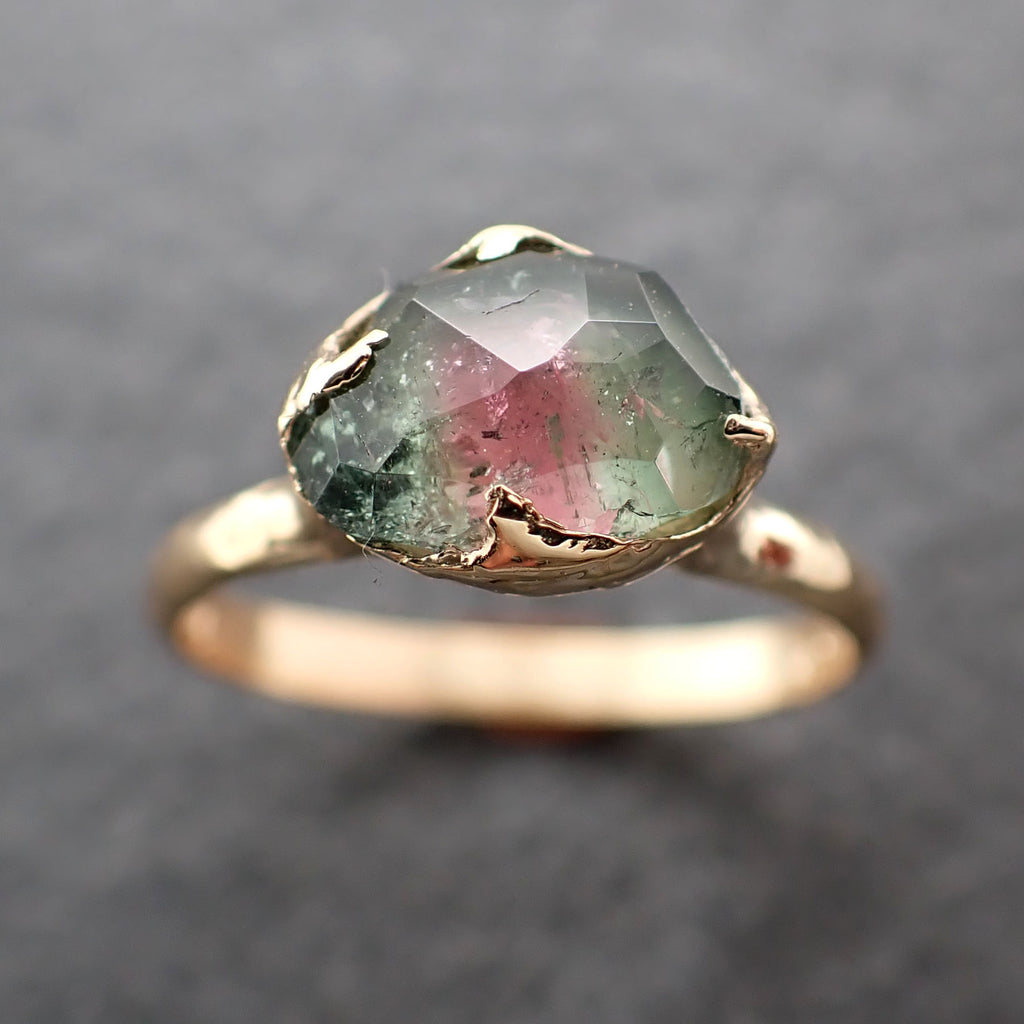 Fancy cut Watermelon Tourmaline Yellow Gold Ring Gemstone Solitaire recycled 18k statement cocktail statement 2397