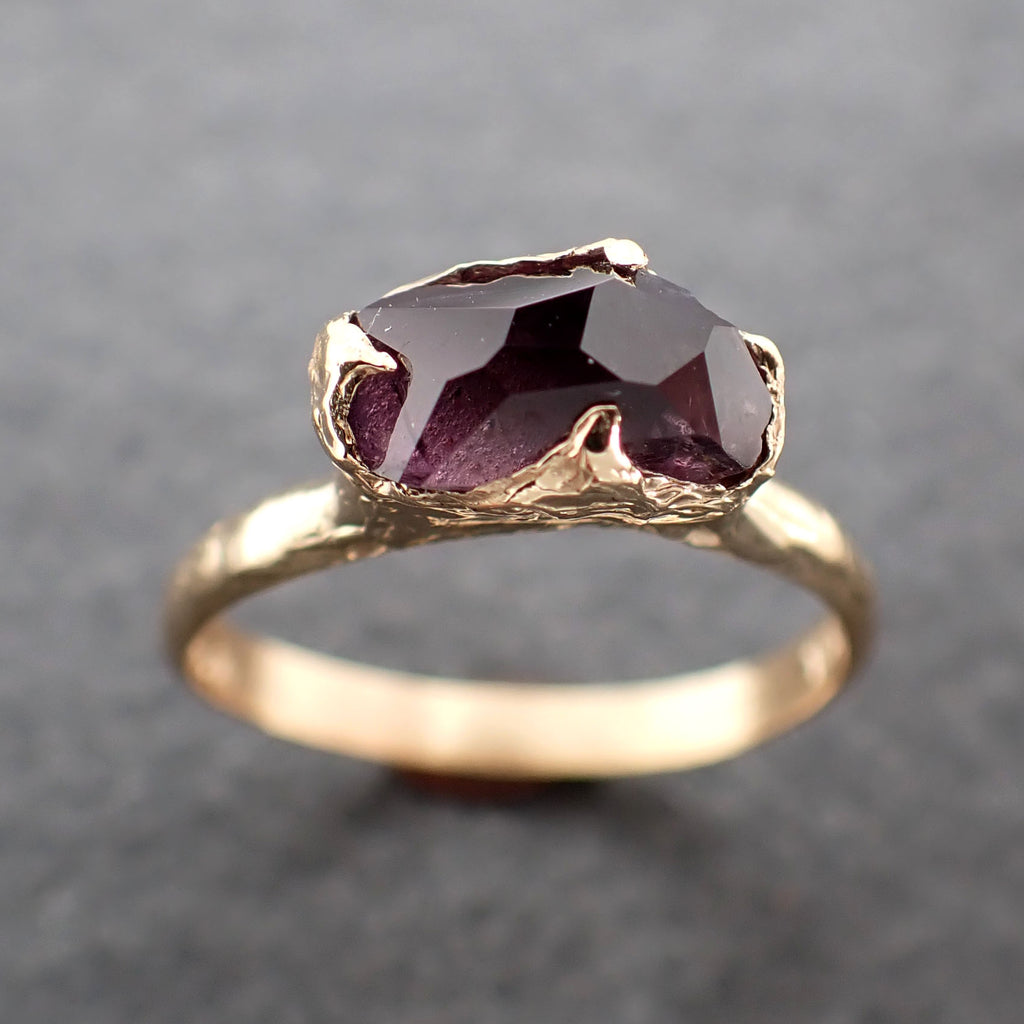 Partially Faceted engagement ring raw purple Spinel 18k Yellow gold Solitaire Ring Gold Gemstone 2399