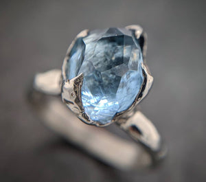 Partially faceted Aquamarine Solitaire Ring 14k White gold Custom One Of a Kind Gemstone Ring Bespoke byAngeline 1992