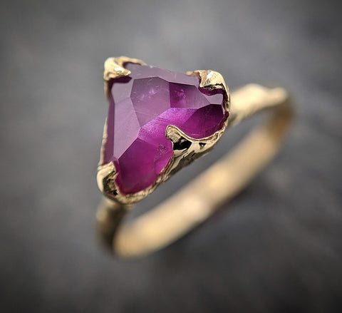 Partially Faceted Sapphire 18k Yellow Gold Engagement Ring Wedding Ring Custom One Of a Kind Gemstone Ring Solitaire 2136
