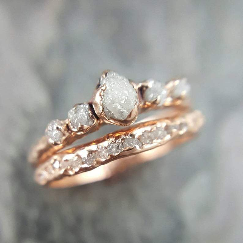 Custom Raw Diamond Rose Gold Multi Stone Engagement Ring Rough Gold We By Angeline