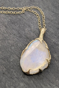 Fancy cut Moonstone 18k Yellow gold Pendant Gemstone Necklace gemstone Jewelry byAngeline 2086