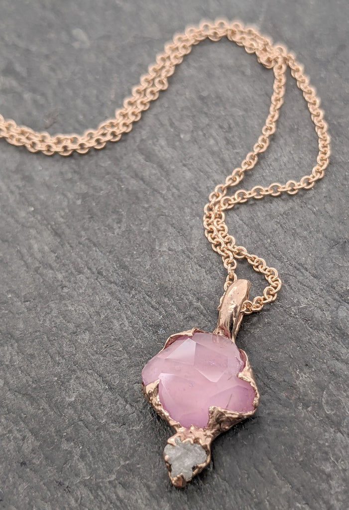 Partially Faceted pink Sapphire and rough diamond 14k Rose gold Pendant Necklace gemstone Jewelry byAngeline 2089