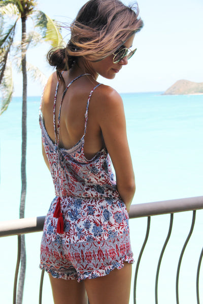 Thai Market Romper in Red Paisley Floral || Palme The Label