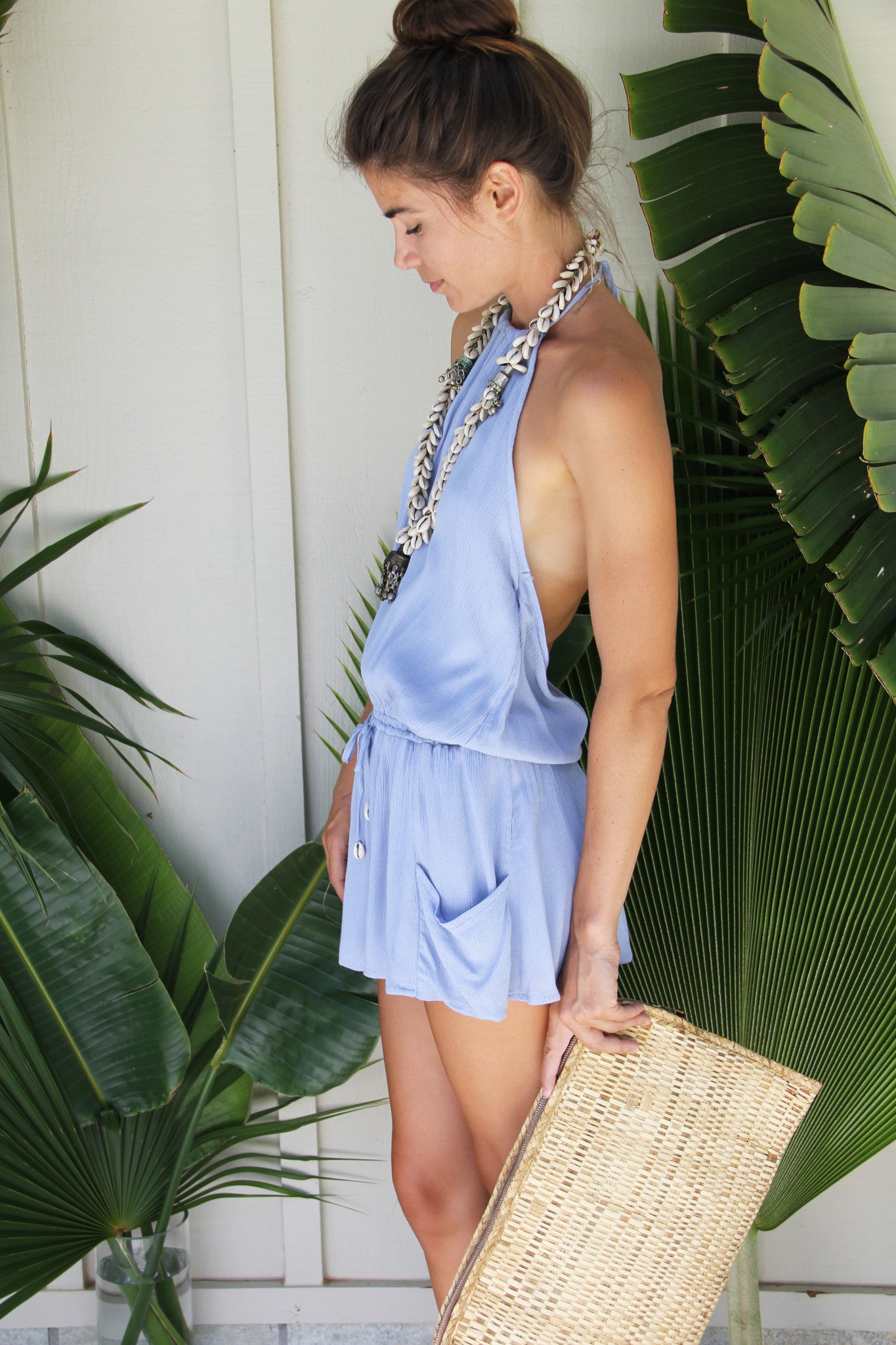 Stillwater Halter Mini Dress in Ocean || Palme The Label