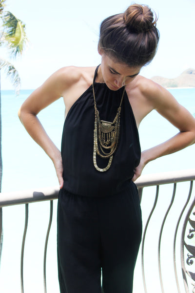 Tang Rayon Crepe Open Jumpsuit in Black || Indah