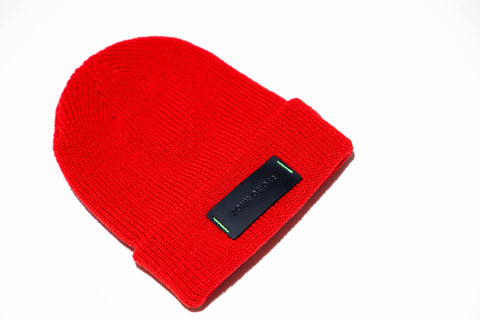 SZN 1 Leather Patch Red Beanie