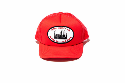 "SZN 1 Red ""Family Loyalty Faith"" Steel Mill Trucker Hat"