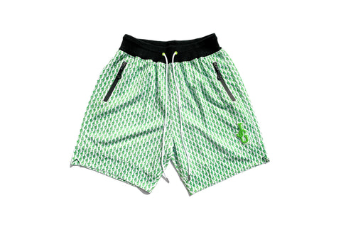 Chenille Patch Mesh Basketball Shorts 'Lime Green JG All Over Print""