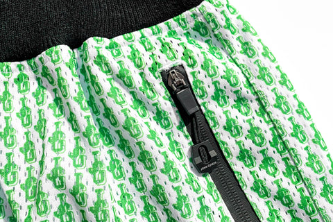 Chenille Patch Mesh Basketball Shorts 'Lime Green JG All Over Print