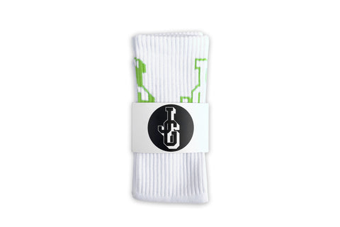 JG Logo Socks White/Lime