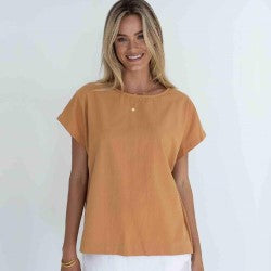 HUMIDITY LIFESTYLE Camel Lexi Cotton Top