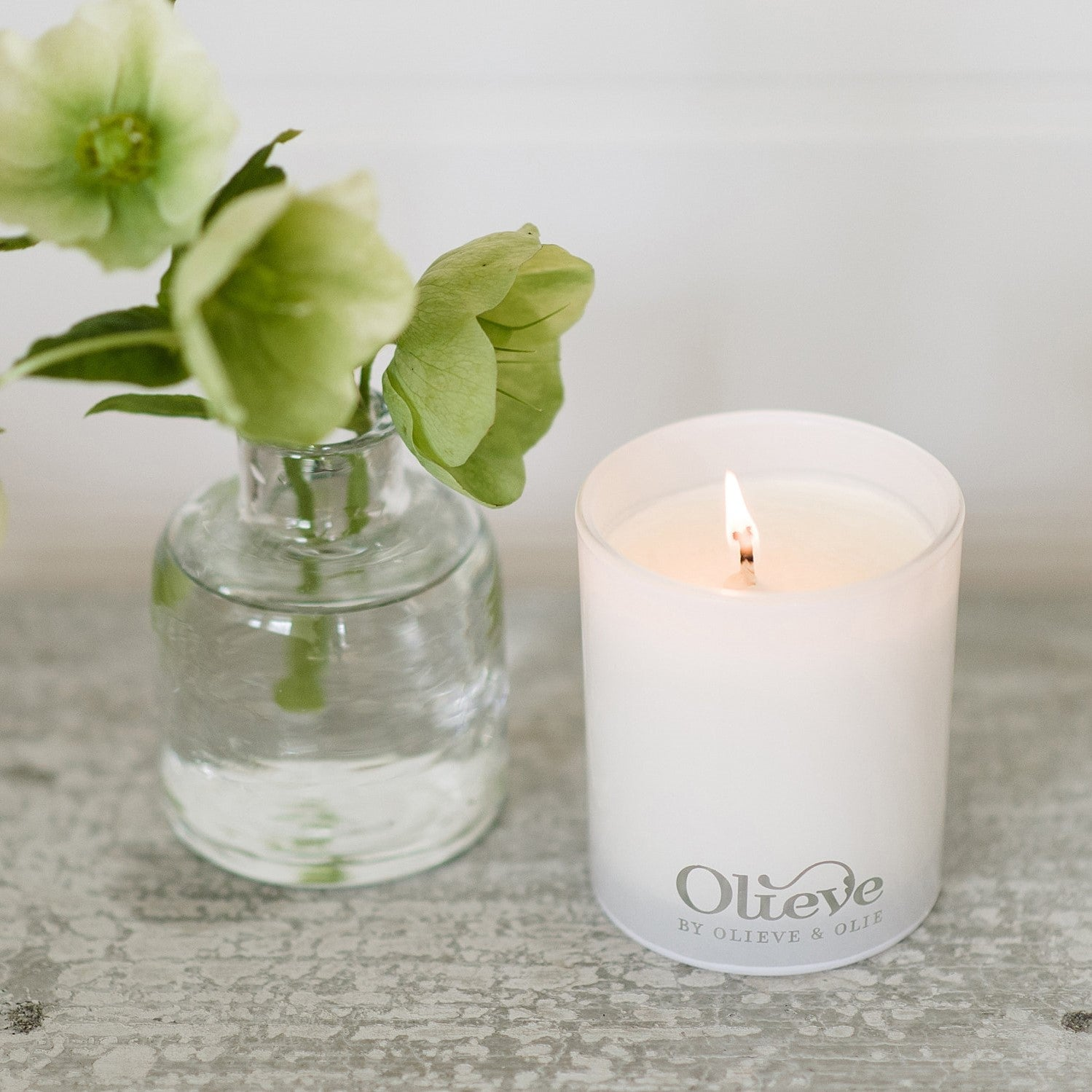 luxurious hand poured olive oil and pure soy wax candle