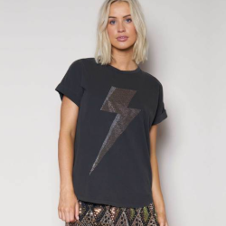 We Are The Others Relaxed Black Tee With Gold Lightening Bolt