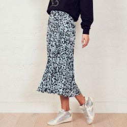 WE ARE THE OTHERS Dusty Blue Animal Sunray Skirt