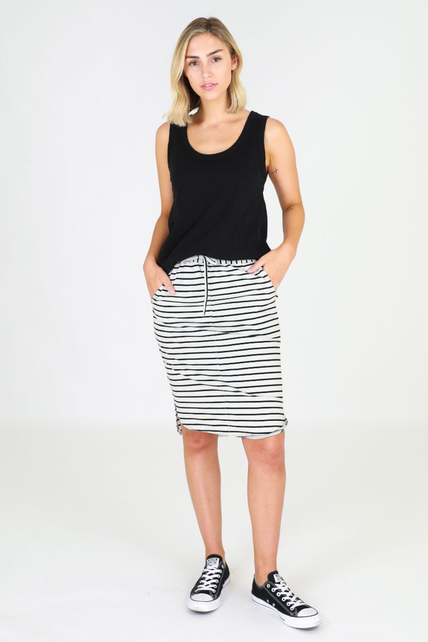 3RD STORY Olivia Skirt - Grey Stripe Skirt - Zabecca Living