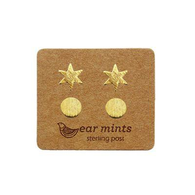 EAR MINTS Star & Circle Set of 2 Earrings Earrings GOLD - Zabecca Living