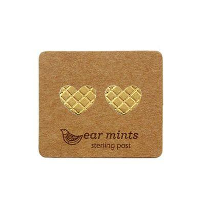EAR MINTS Textured Heart Earrings Earrings GOLD - Zabecca Living