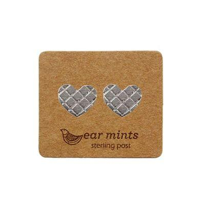 EAR MINTS Textured Heart Earrings Earrings SILVER - Zabecca Living