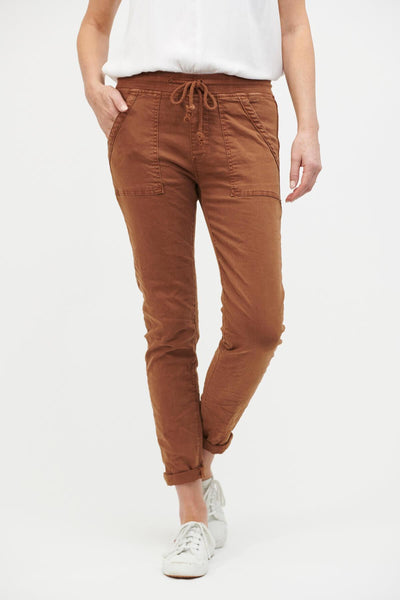 ITALIAN STAR Classic Drill Jogger - Rust PANTS - Zabecca Living
