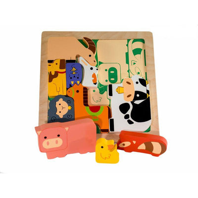 KIDDIE CONNECT Chunky Wooden Farm Animal Puzzle TODDLER (1-3 Yrs) - Zabecca Living