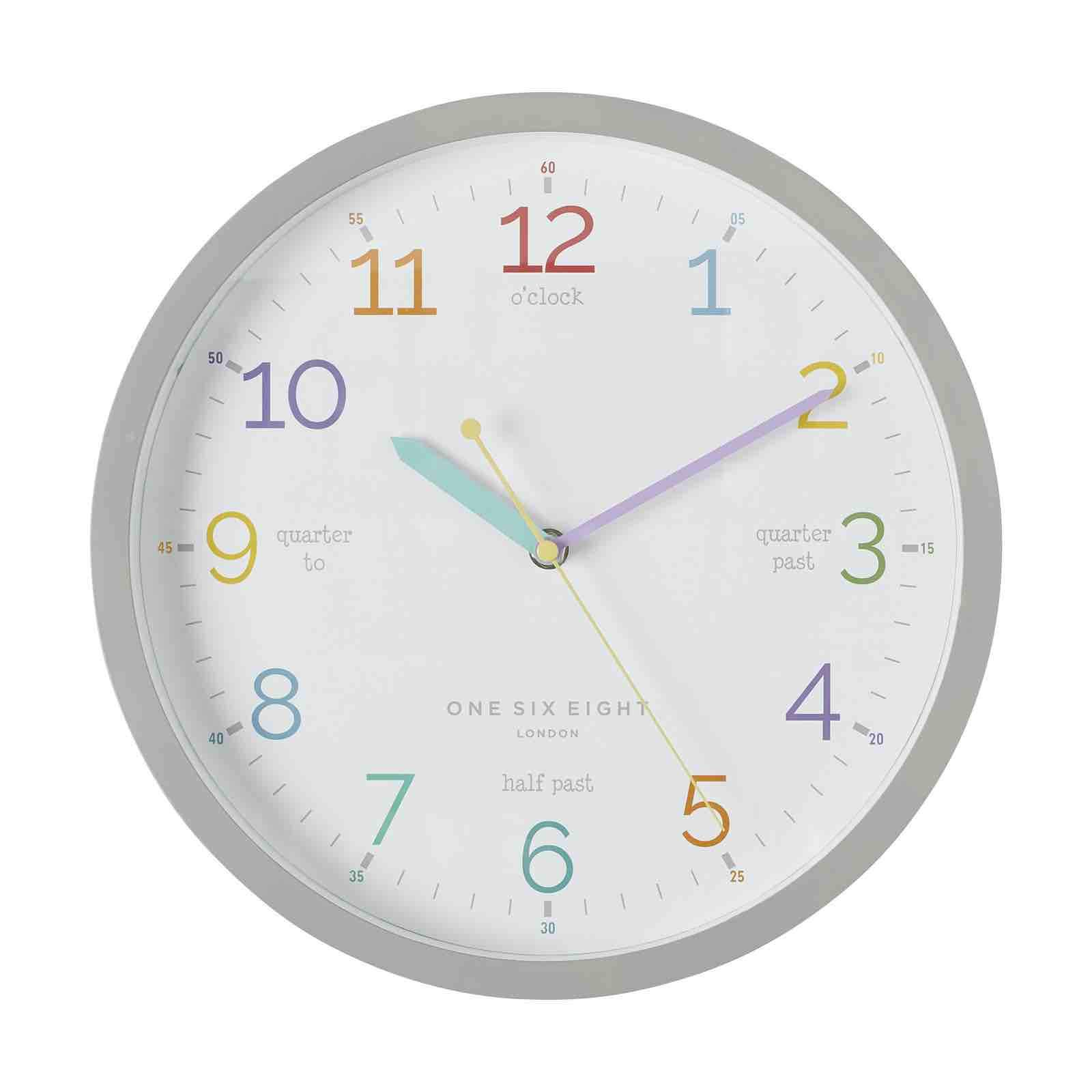 ONE SIX EIGHT LONDON Learn the Time Clock - 30cm Grey CLOCK - Zabecca Living