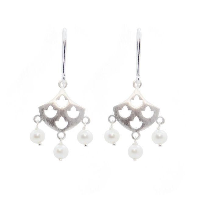 ROYAL HAMAM Tulip Pearl Earrings - Silver Earrings - Zabecca Living