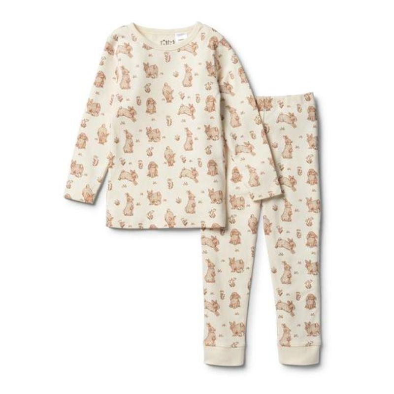 WILSON & FRENCHY Organic Little Hop Long Sleeve Pyjama Set Kids Pyjamas - Zabecca Living
