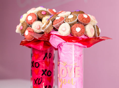 cookie cups glass bouquet